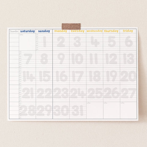 Our BIG Monthly Calendar