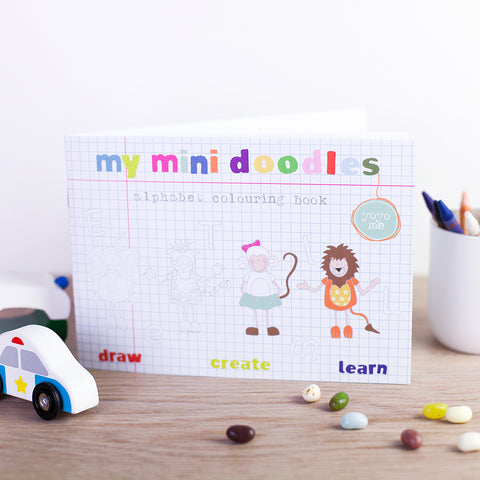 Pack of 5 Mini Doodles Alphabet Colouring Books