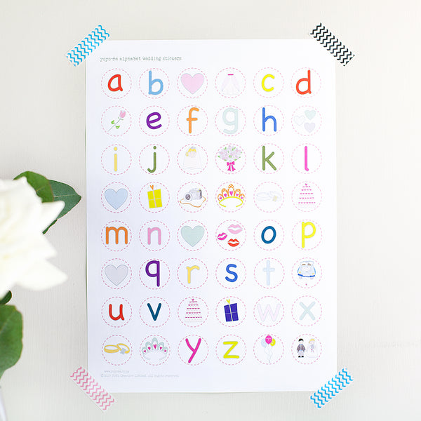 Alphabet Wedding Stickers