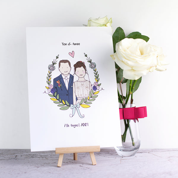 Personalised Bride & Groom Illustration