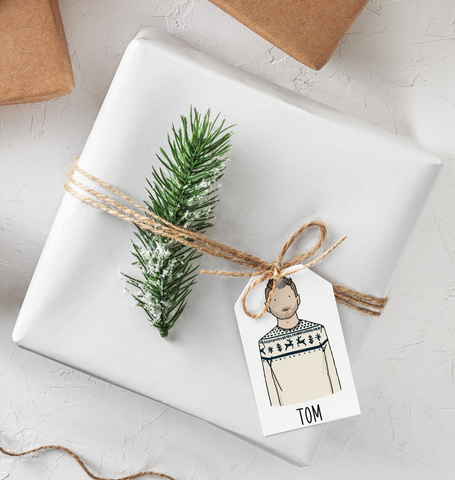 Personalised portrait Christmas gift tags