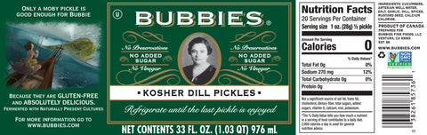 Bubbie's Kosher Dill Pickles