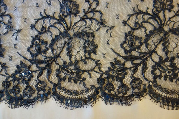 Hand Beaded Chantilly Lace