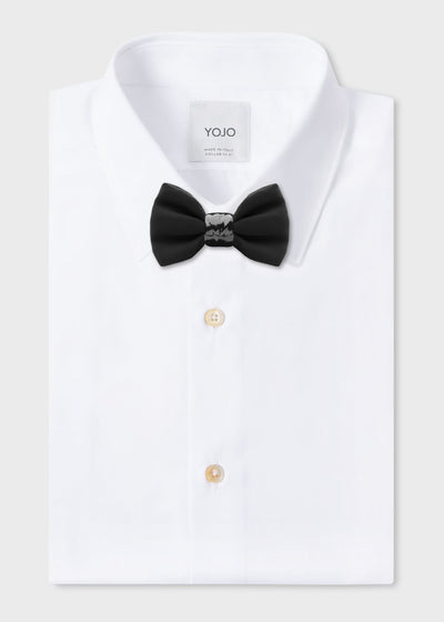 silk bow tie with ceramic knot all black | YOJO
