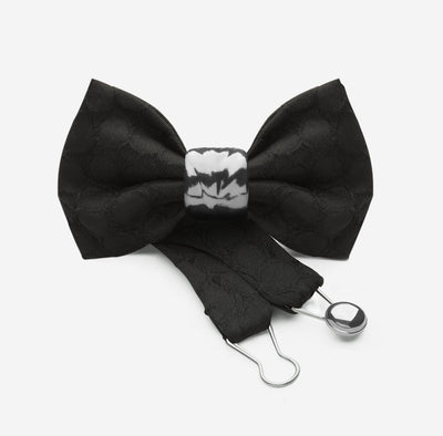 designer jaquard silk black bowtie with silver ceramic knot