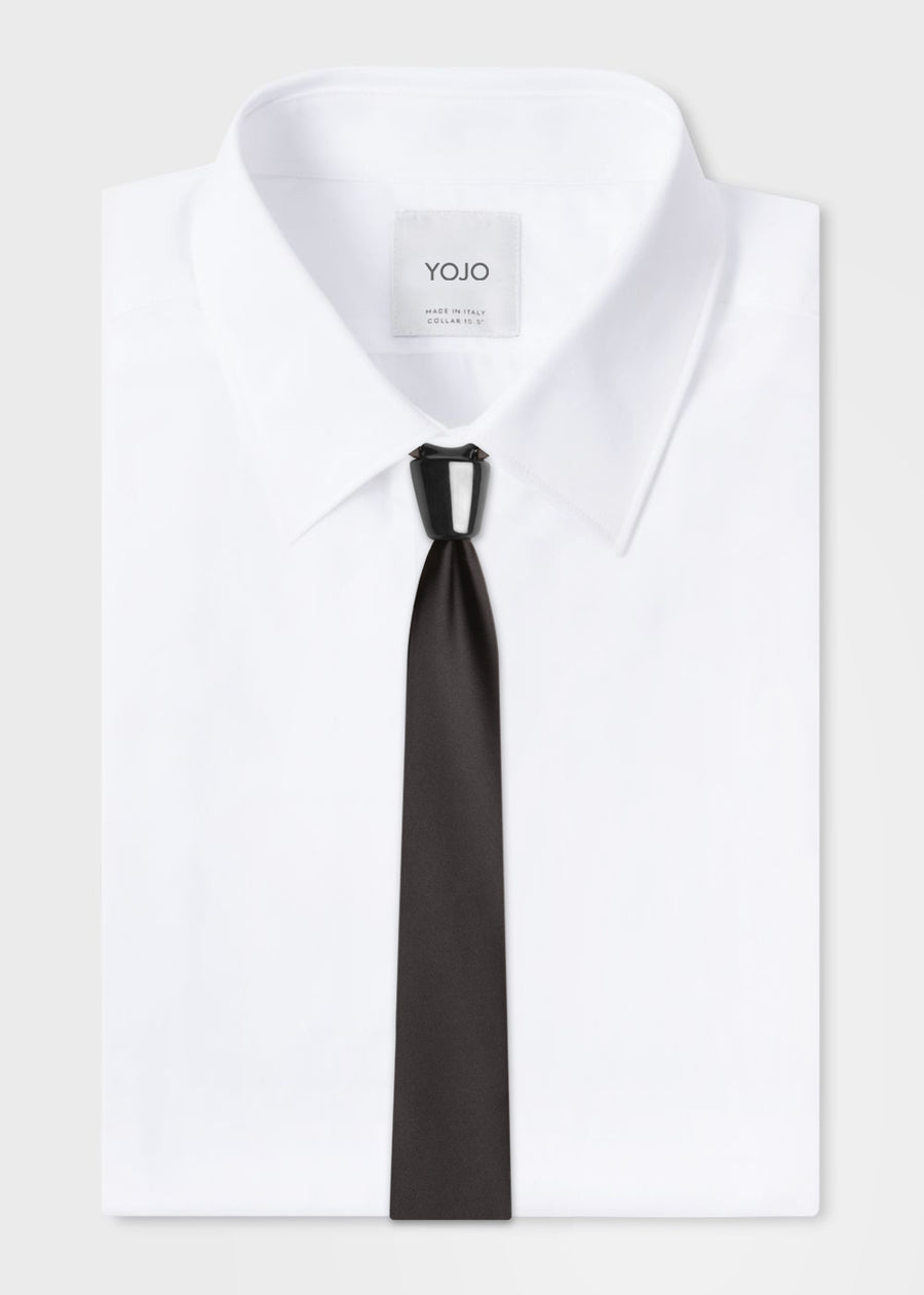 black silk tie with black ceramic knot | YOJO