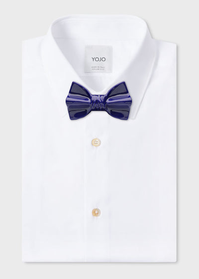 ceramic bow tie blue on YOJO collar shirt
