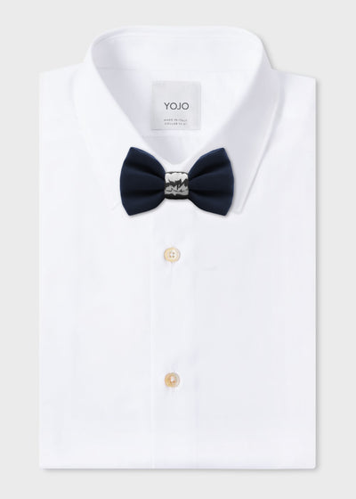 silk bow tie in blue with ceramic knot in silver | YOJO