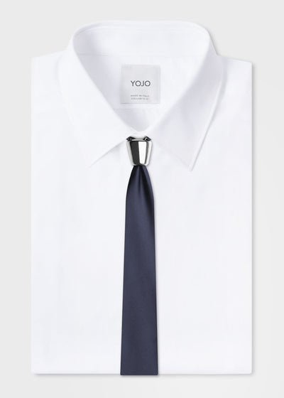 silver ceramic tie in blue on YOJO shirt