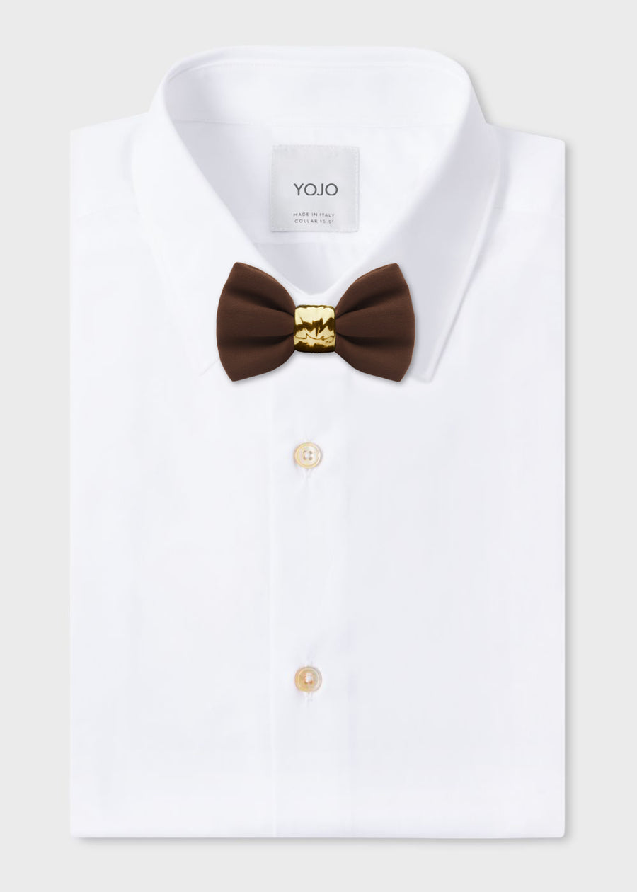 luxury brown silk bow tie with gold pre-tied ceramic knot