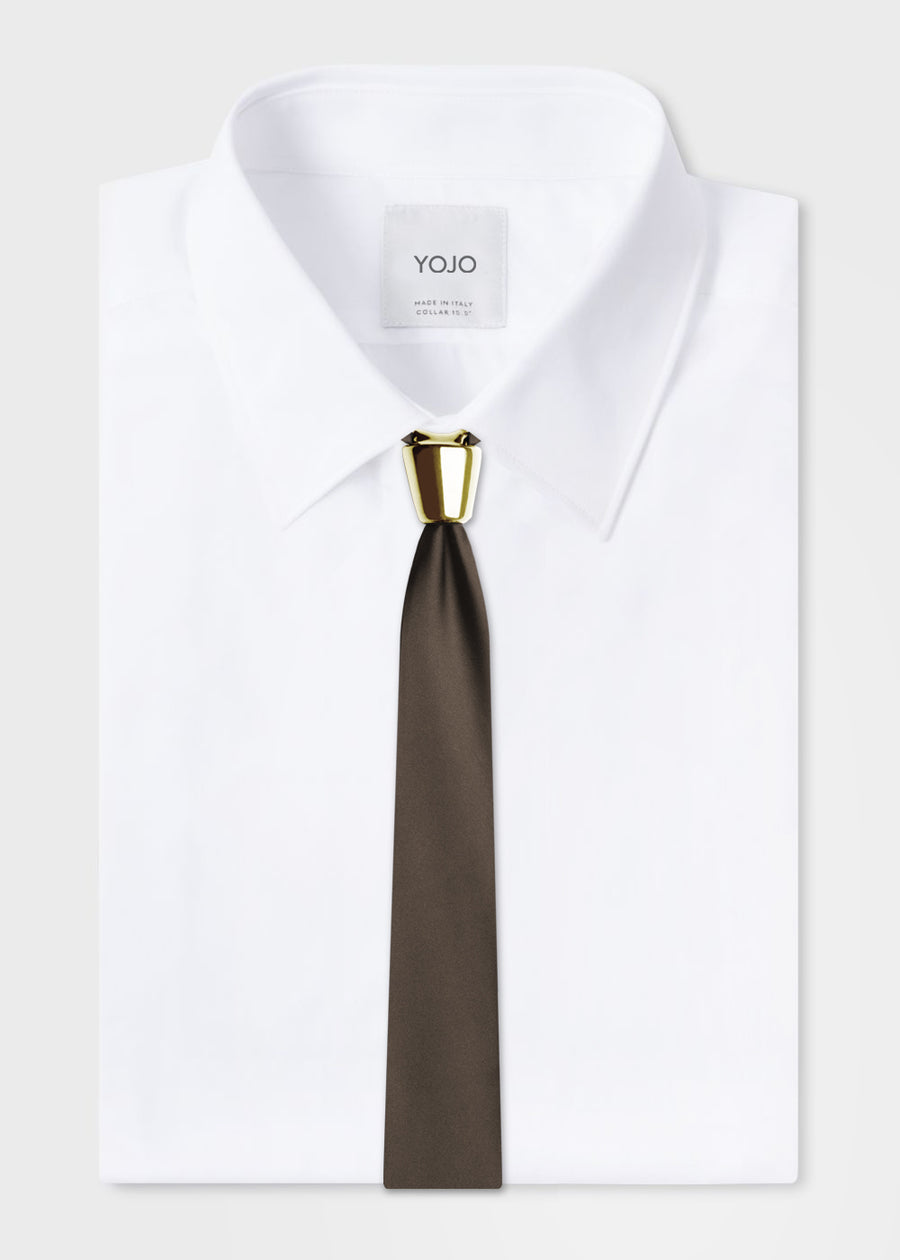 luxury modular brown silk tie with gold ceramic knot by YOJO