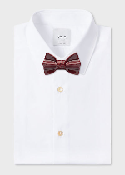 ceramic bow tie burgundy red on YOJO white shirt