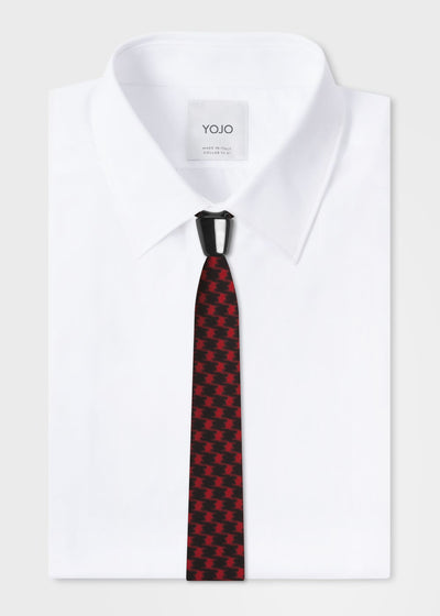 designer silk tie in red and black checked print | YOJO