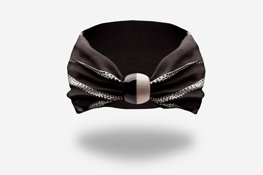 designer black silk headband with black and white ceramic knot by YOJO