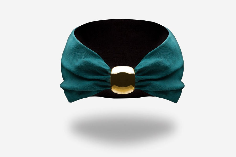 designer emerald green headband with gold ceramic knot by YOJO