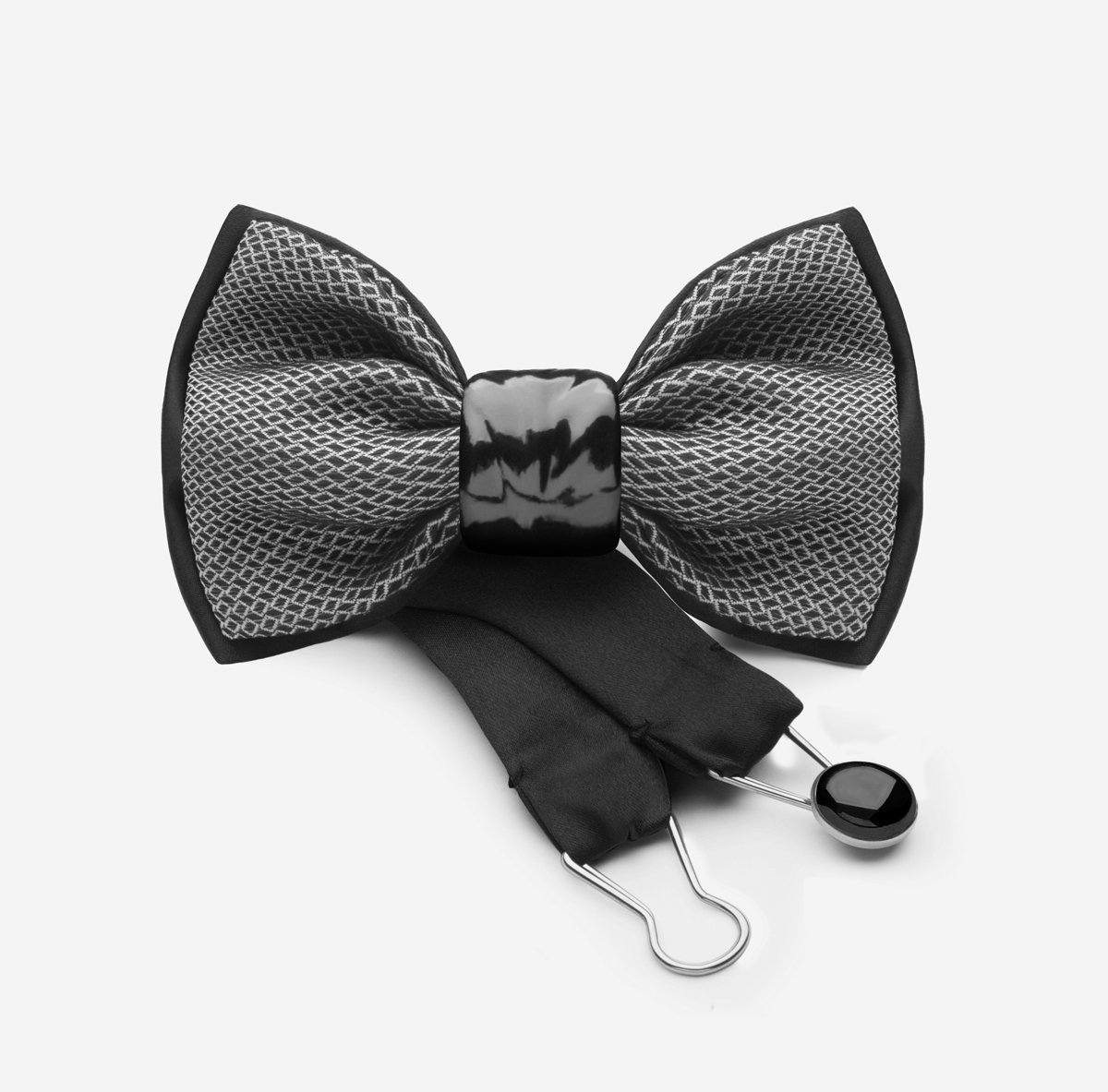 baddfd63d0bf designer print silk grey black bowtie with black ceramic knot