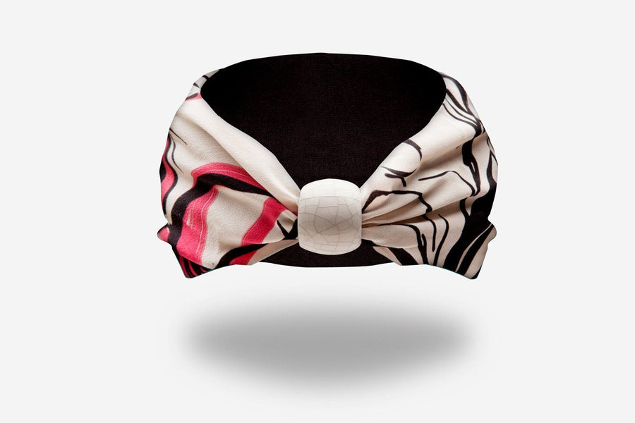 designer floreal headband with crack textured ceramic knot by YOJO