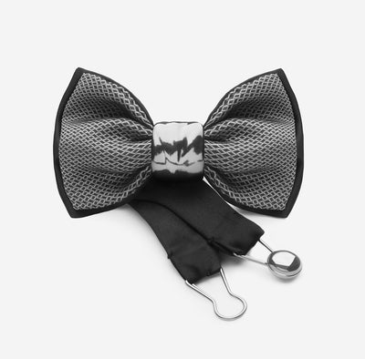 party wear silk bow tie with ceramic knot in silver | YOJO