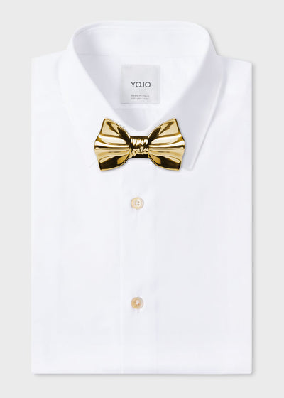 ceramic bow tie gold on YOJO white shirt