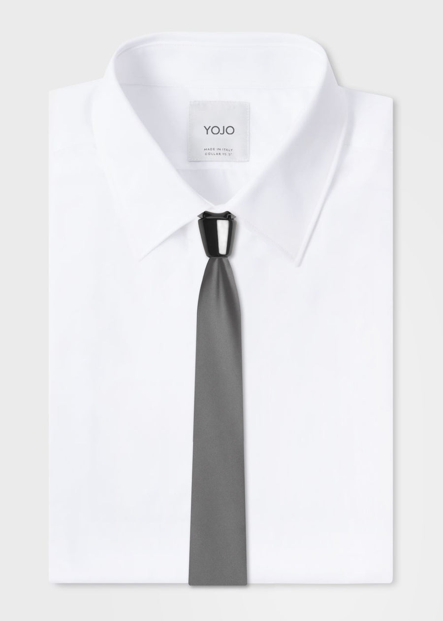 luxury modular grey silk tie with black ceramic knot by YOJO