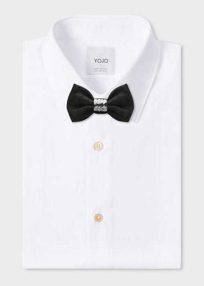 jacquard silk bow tie in black with ceramic knot in silver | YOJO