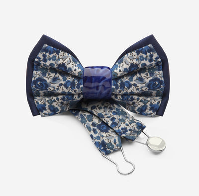 blue liberty london bow tie with blue ceramic knot