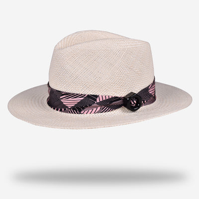 WHITE PANAMA HAT | GEOMETRIC BAND