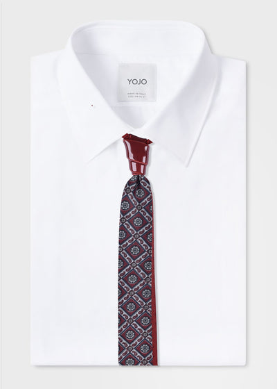 mens-red-burgundy-silk-tie-with-van-wijk-ceramic-knot-on-white-shirt-yojo