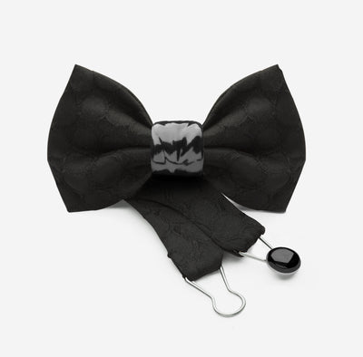 silk and ceramic bow tie in black with modular knot | YOJO
