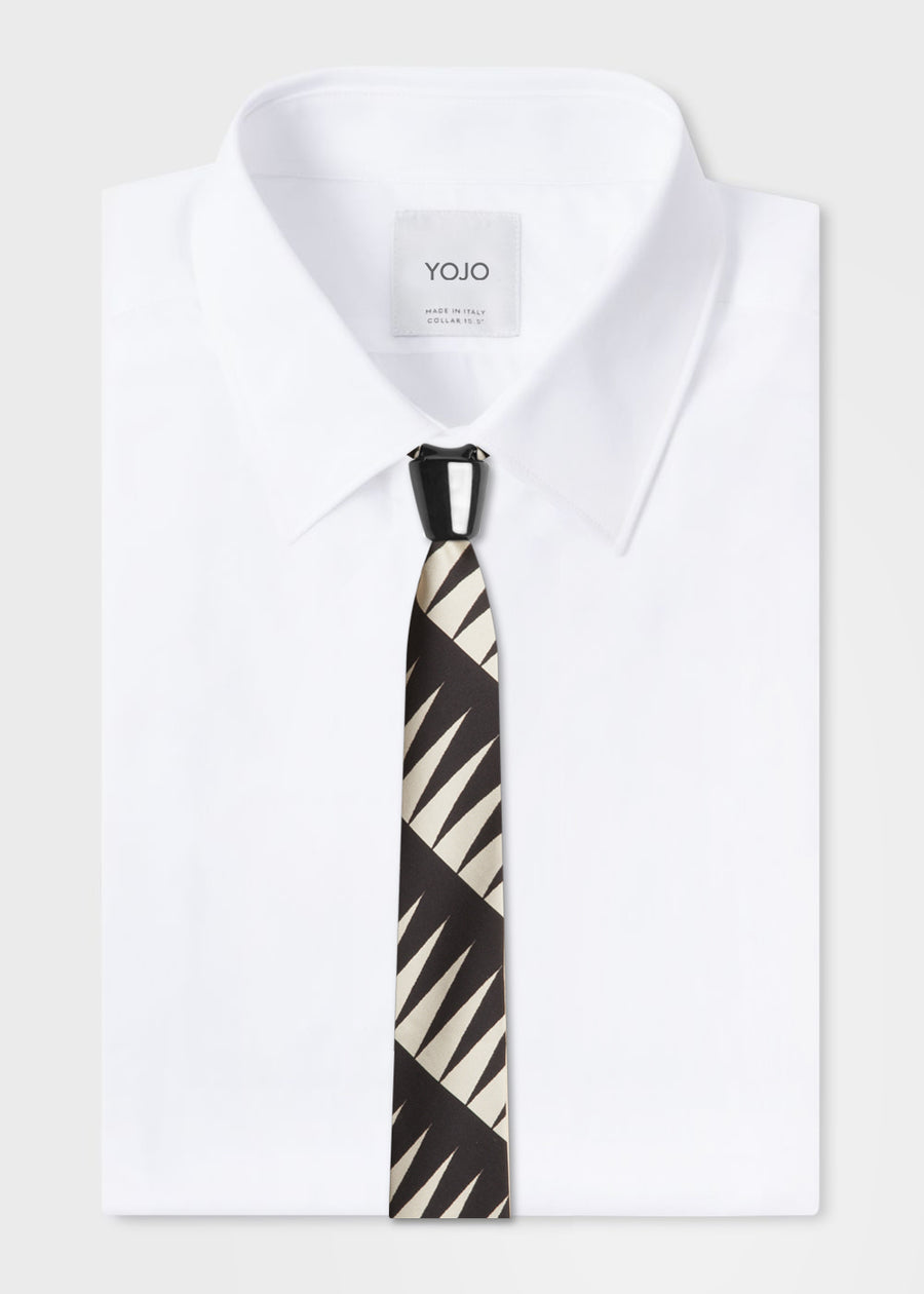 luxury modular black and white silk tie with black ceramic knot by YOJO