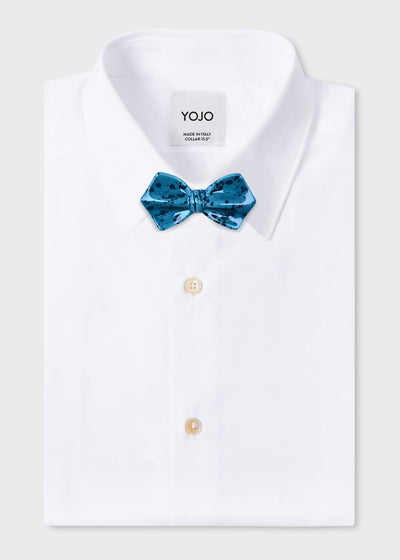tiffany-emerald-green-bow-tie-on-white-designer-shirt-yojo-exclusive-design