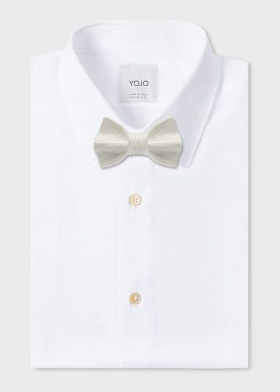 ceramic bow tie white on YOJO party wear shirt