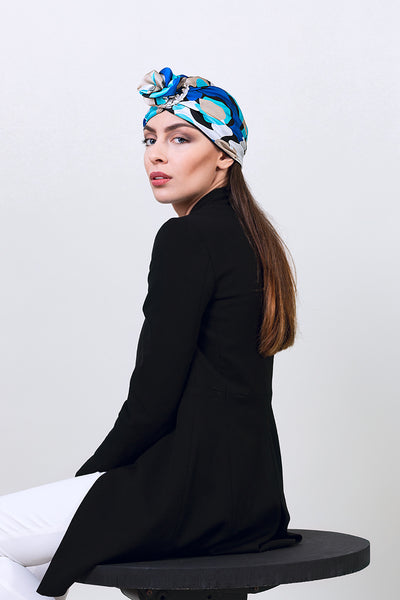 woman-silk-turban-hat-summer-style-designer-blue-print-with-ceramic-ring-yojo