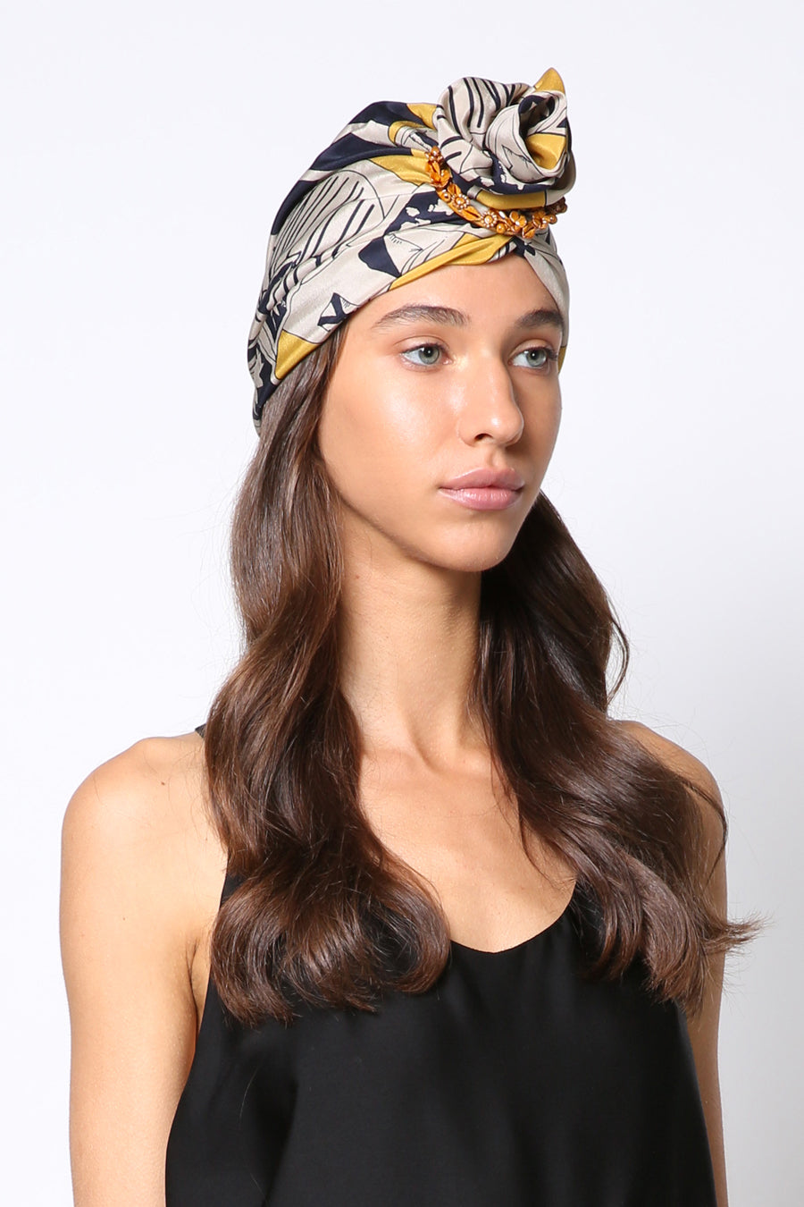 designer silk turban hat with signature ceramic ring yojo