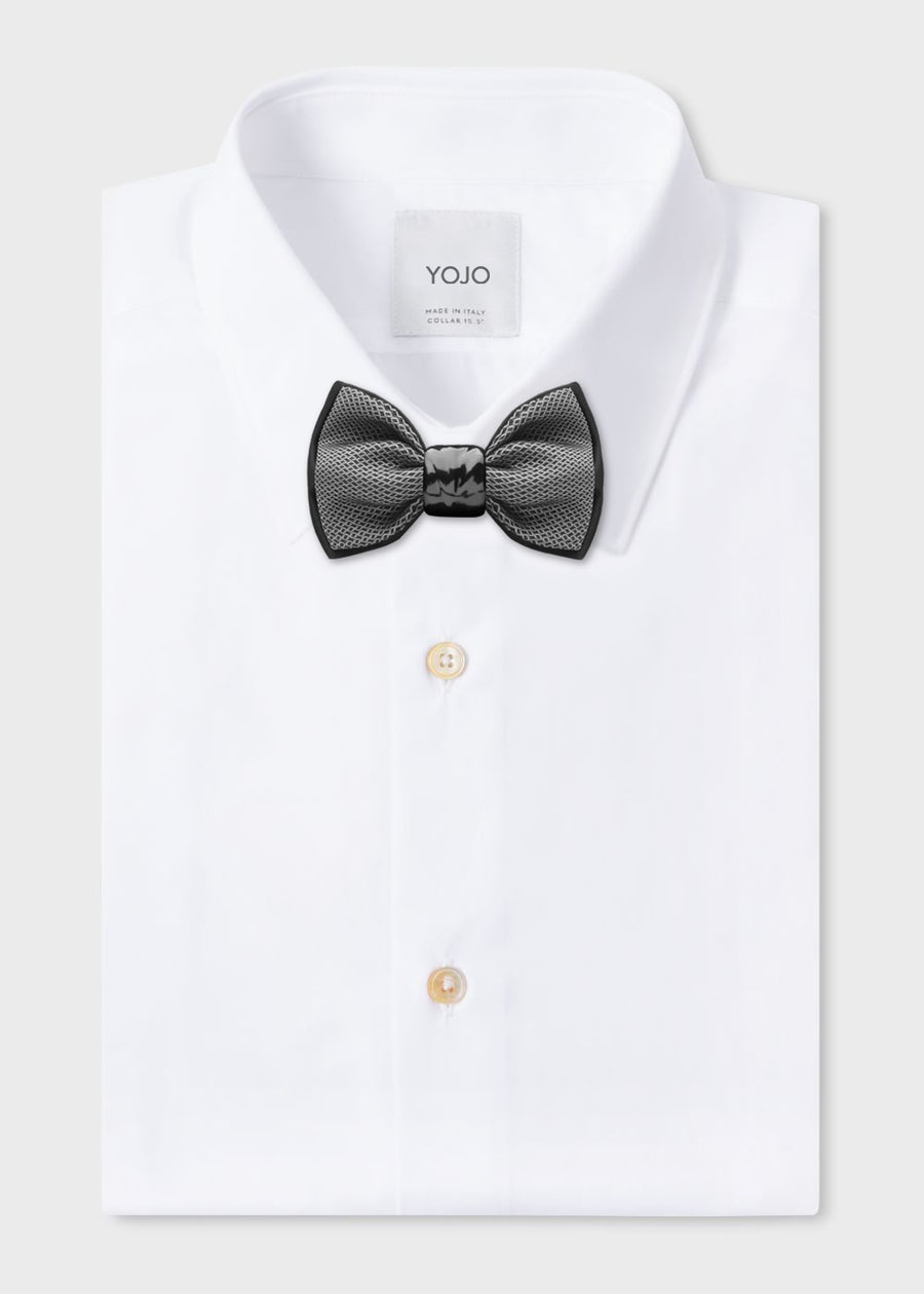 designer print silk grey black bowtie with black ceramic knot