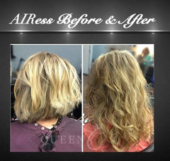 before & after of girl wearing highlighted hair extensions for fine thin hair in AIRess Collection from Queen C Hair