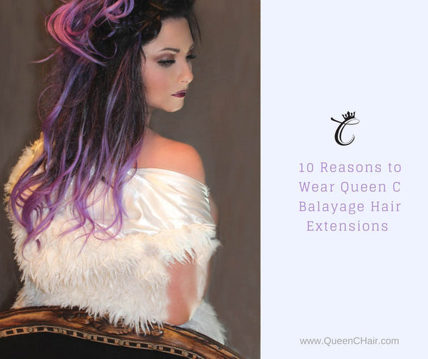 Girl standing wearing furry jacket and purple Balayage Hair Extensions by Queen C Hair