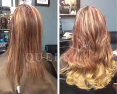 "Girl wearing Copper Red Dirty Blonde Balayage Extensions 18"" by Queen C Hair"