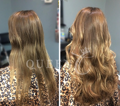 "Girl wearing 18"" Ash Brown extensions"