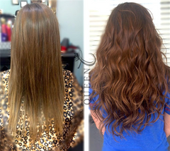 Girl wearing Chestnut Brown hair extensions by Queen C Hair