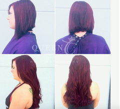girl wearing 20 inch cherry red hair extensions by Queen C Hair