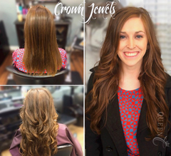 Girl wearing Chocolate Brown hair extensions by Queen C Hair