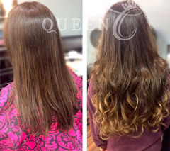 Girl wearing Balayage Dark Brown Ash Brown hair extensions by Queen C Hair