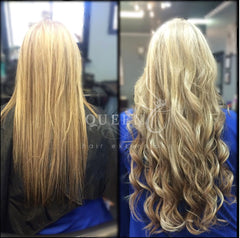 girl wearing 22 inch desert sand blonde highlighted hair extensions by Queen C Hair