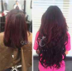 girl wearing 22 inch jet black hair extensions by Queen C Hair