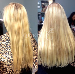 Girl wearing Ash Blonde hair extensions by Queen C Hair