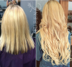 girl wearing 22 inch blonde hair extensions by Queen C Hair