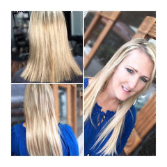 Girl wearing Highlighted Hair extensions for fine thin hair AIRess Queen C Hair