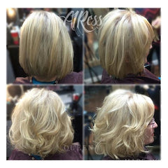 Before & After lady wearing blonde hair extensions for fine thin hair AIRess Collection - Queen C Hair