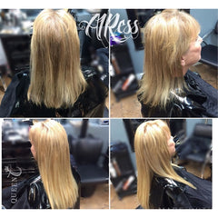 Before & after lady wearing dirty blonde hair extensions for fine thin hair in AIRess Collection from Queen C Hair